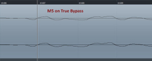 Screenshot of Cubase session, guitar passing through M5 in upper waveform, guitar directly to audio interface in lower waveform. M5 in true bypass.